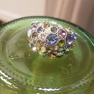 Fossil》Mesmorizing silver multicolor party ring